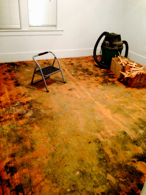 Sanding a hardwood floor before refinishing